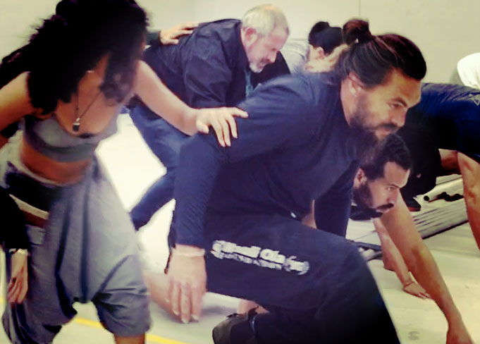 training with Jason Momoa on the set of the Apple+ show See